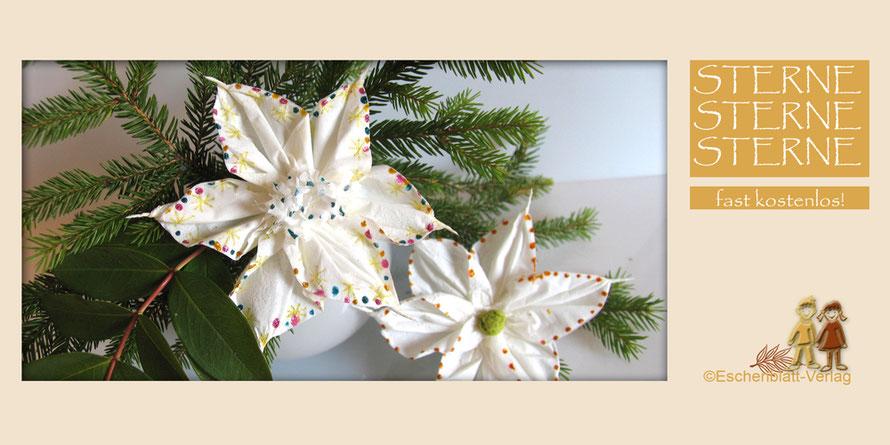 Weihnachtssterne aus einem Papiertaschentuch