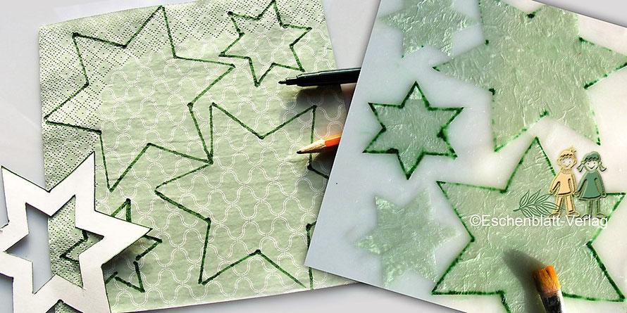 Sterne aus Servietten für einen Tisch- oder Christbaumschmuck mit Kindern basteln