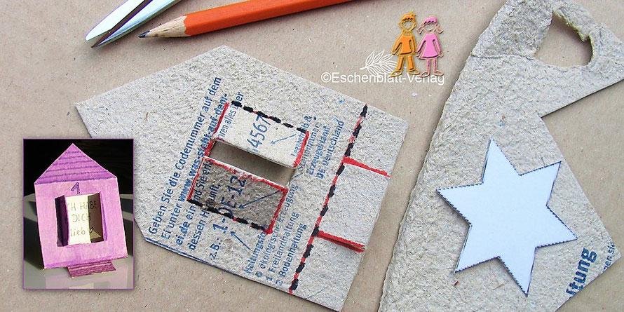 Kleine Häuschen als Adventskalender aus glatten Deckeln eines Eierkartons basteln