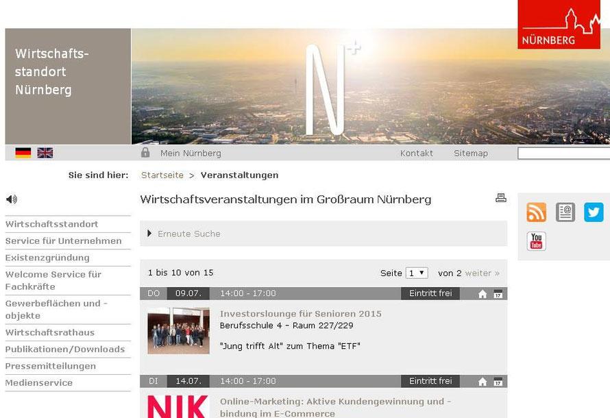 Wir sind kein läppisches Schülerprojekt, sondern eine Wirtschaftsveranstaltung der Metropolregion!!! (Stadt Nürnberg, Screenshot vom 09.07.2015)
