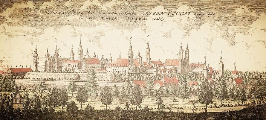Schloss und Städtchen Oberglogau nach der imposanten Renovierung im Barockstil
