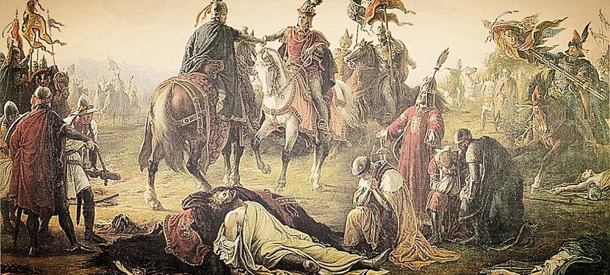 Rudolf I von Habsburg erobert 1276 gegen Ottokar II Böhmen und damit auch Schlesien
