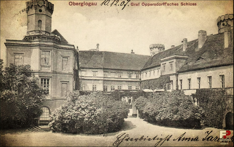 Oberglogau castle following its renovation in Tudor style at the turn of the century