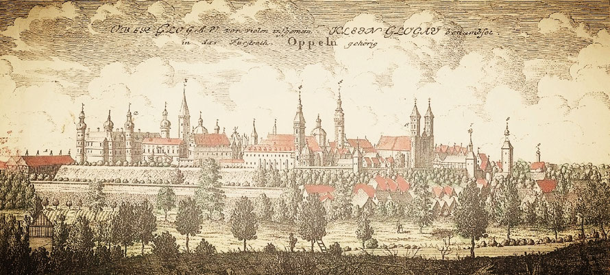 Oberglogau castle and town after the grandiose Baroque renovation