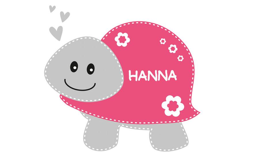 Wandtattoo für Kinderzimmer - Schildkröte personalierbar mit Wunschtext