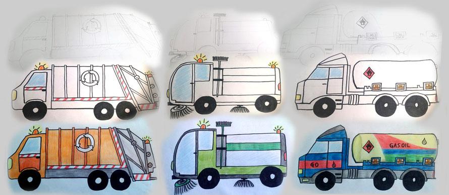 mit Holzbuntstiften gemalte Fahrzeuge - Müllauto, Straßenkehrmaschine und Tanklaster