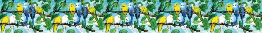 Wandbordüre mit Wellensittichen - liebevoll handgemaltes Motiv