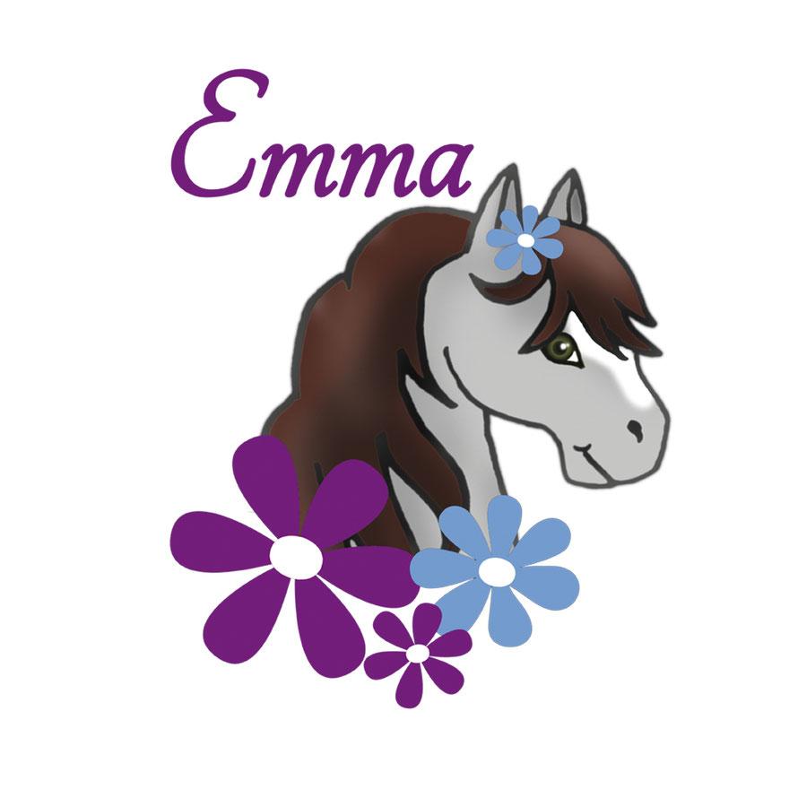 Türaufkleber Pony mit Blumen, mit Wunschname personalisierbar