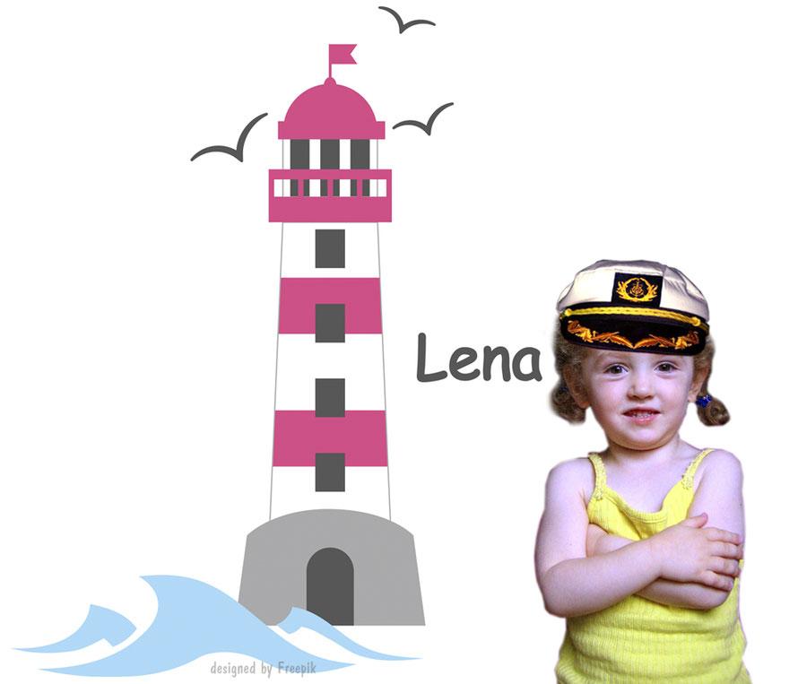 Wandaufkleber Leuchtturm  mit Möwen, Wellen - personalisierbar mit Wunschname