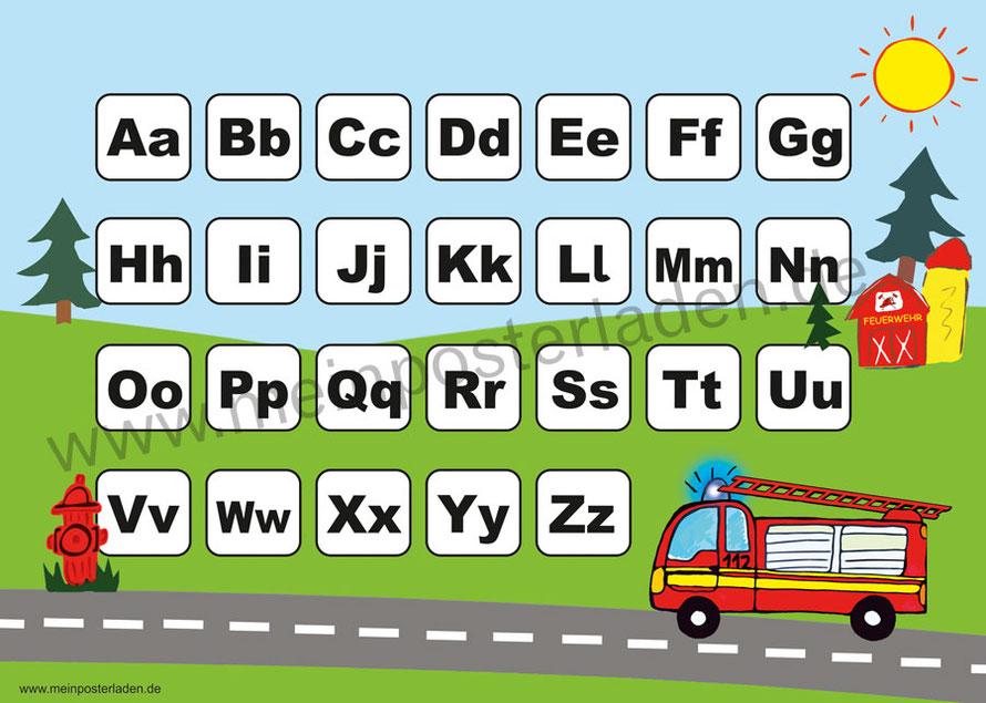 ABC Lernposter für die Grundschule mit Feuerwehrauto, optional laminiert
