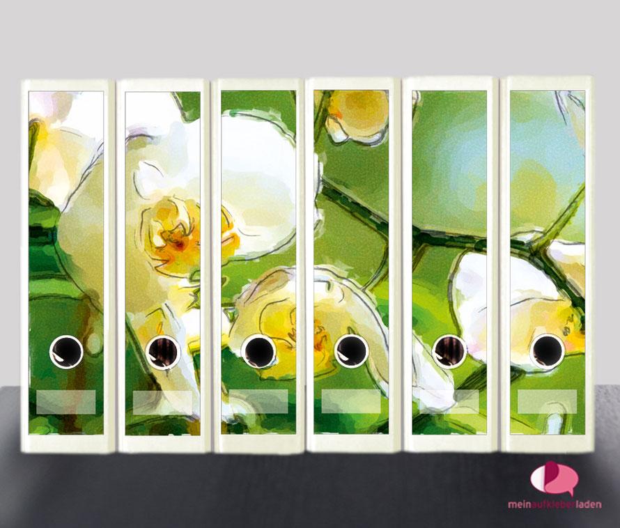 liebevoll gestaltete  Ordnerrückenaufkleber für die Schule, Büro, Arbeit oder zu Hause - weiße Orchidee im Aquarell-Stil