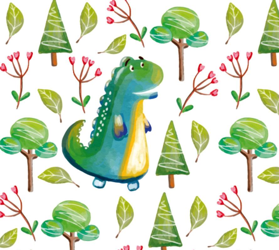 nachhaltige ECO Kinderbordüre mit niedlichen Dino im Wald, nach  Aquarellart - gedruckt per Digitaldruck in Familiendruckerei im Thüringer Wald
