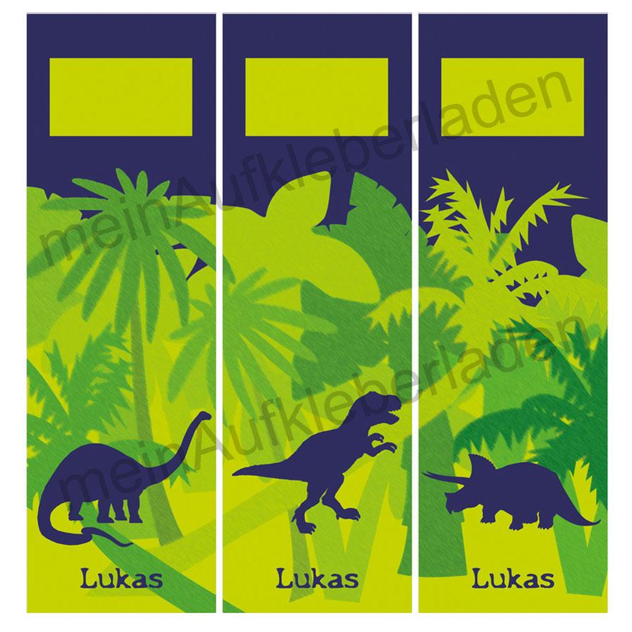 niedliche Ordnerrückenaufkleber für die Schule - verschiedene Dinos, Langhals, T-Rex und Triceratops, mit Name personalisierbar