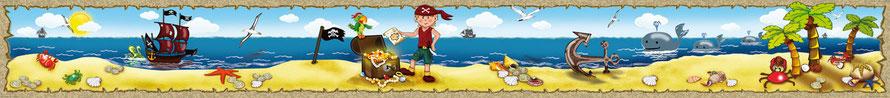 Kinderbordüre mit Goldschatz, Pirat, Piratenschiff, Wale, Anker, Piratenflacke, Papagai und vielen Muscheln