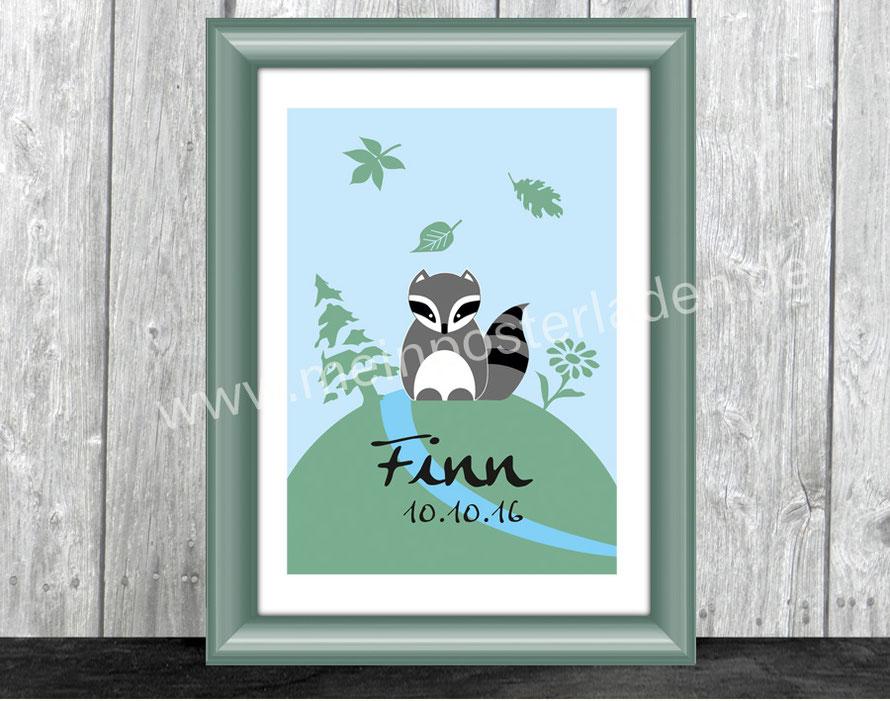 Namensprint mit niedlichem Waschbär und Blätter im Wald - personalisierbar mit Name und Geburtsdatum des Kindes, tolle Geschenkidee