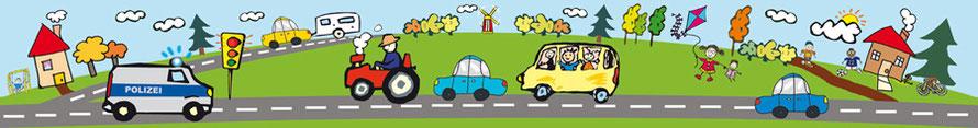 selbstklebende Kinderbordüre mit Fahrzeugen, Polizeiauto, Traktor, Bus - B-Ware