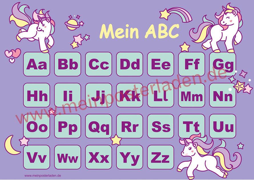 ABC Lernposter für die Grundschule mit niedlichen Einhörnern, optional laminiert