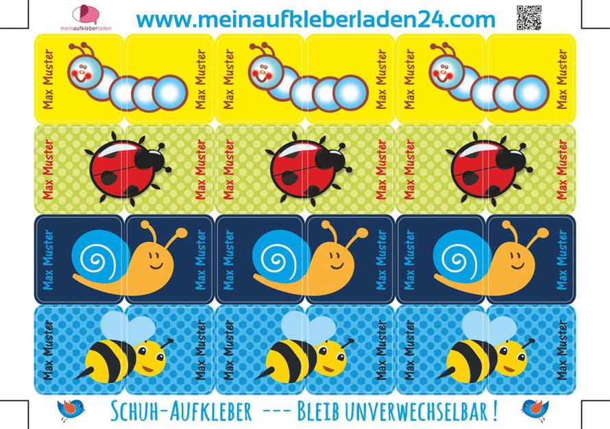 mit Namen personalisierbare Schuhaufkleber mit niedlichen Tierchen, Raupe, Marienkäfer, Schnecke und Biene - so geht Schuheanziehen kinderleicht