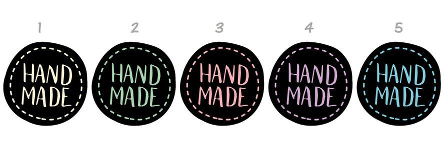 Etiketten für dein Label: Handmade -  in schwarz mit farbiger Schrift