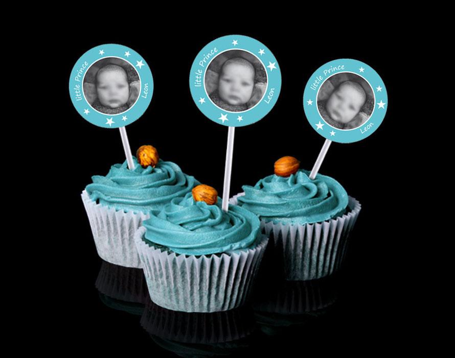 Kuchendeko - Aufkleber für Cupcakes - personalisierbar mit Foto