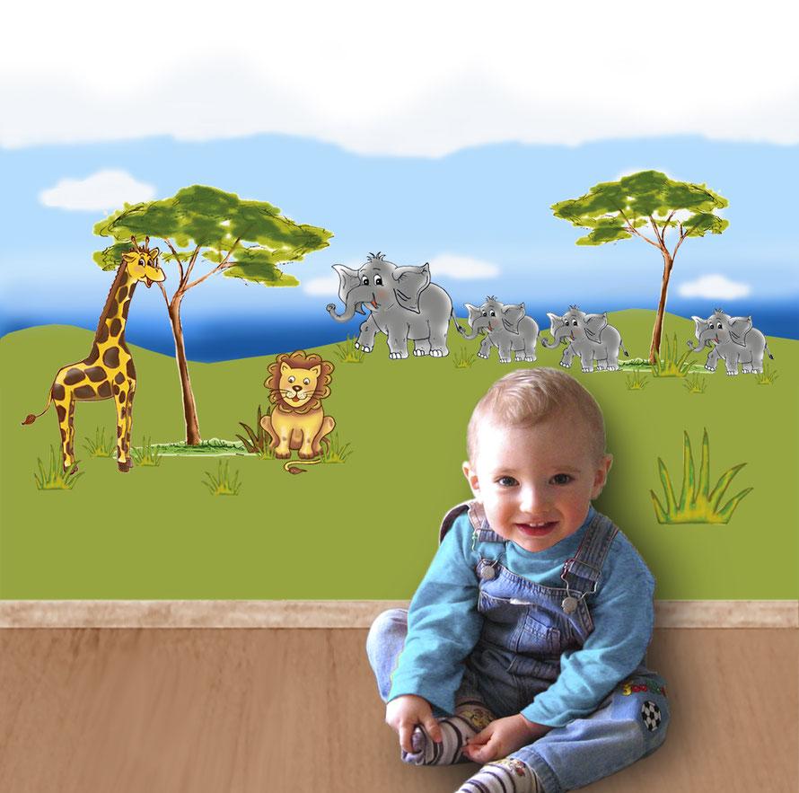 Wandaufkleber-Set Savanne - Tiere in Afrika, Elefant, Löwe, Giraffe und Affe