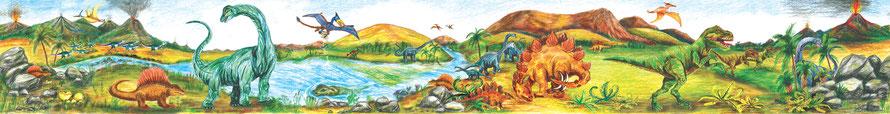 Wandbordüre mit urzeitlicher Landschaft und vielen Dinos - liebevoll handgemaltes Motiv
