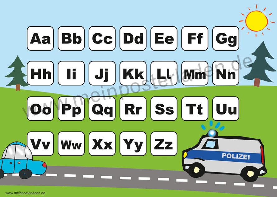 ABC Lernposter für die Grundschule Polizei, optional laminiert