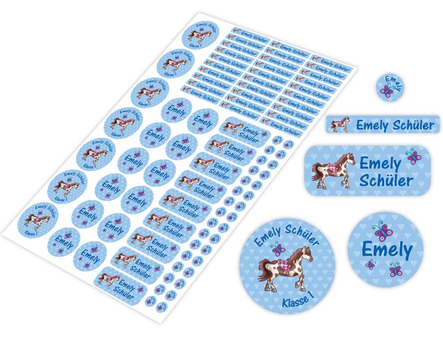 Schulstarter-Set - Motiv: Pony mit  Schmetterlinge - verschiedene Namensaufkleber, Stifteaufkleber, Mini Dots Aufkleber, hochwertige, umweltfreundliche PVC-freie Folie