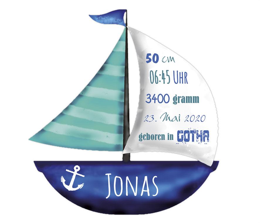 Wandaufkleber Segelboot mit Name und Geburtsdaten personalisierbar