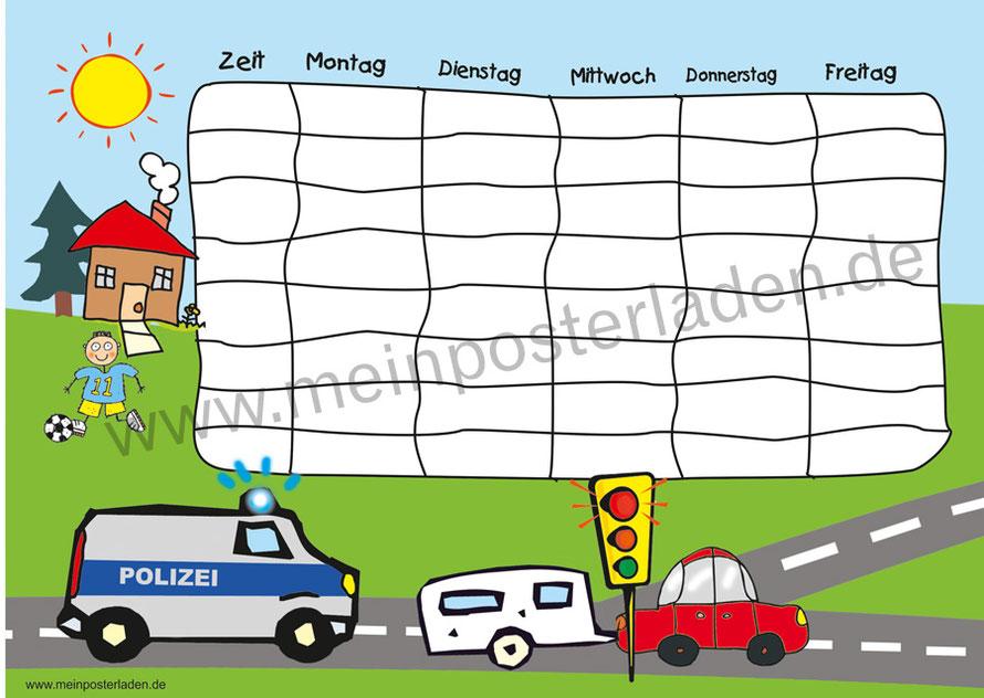 A4 Stundenplan Polizei, optional wiederbeschreibbar