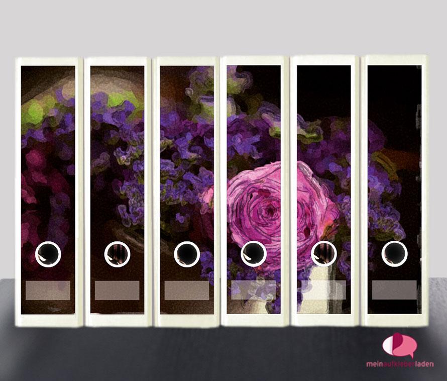 liebevoll gestaltete  Ordnerrückenaufkleber für die Schule, Büro, Arbeit oder zu Hause - romantische Blumen im Aquarell-Stil