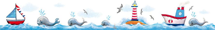 Wandbordüre mit Segelboot, Wale, Leuchtturm, Möwen und Schiff - liebevoll handgemaltes Motiv