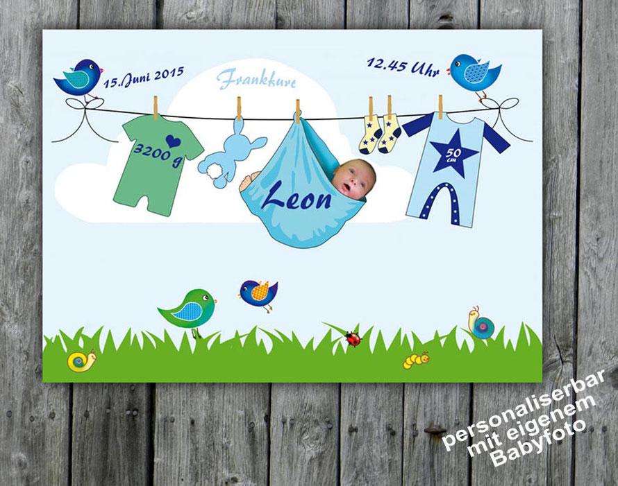 Geburtsprint - Wäscheleine - personalisierbar mit eigenem Foto des Baby´s, Name & Geburtsdaten, tolle Geschenkidee