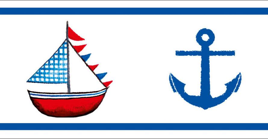 Vliesbordüre mit blau - roten Segelbooten und Anker