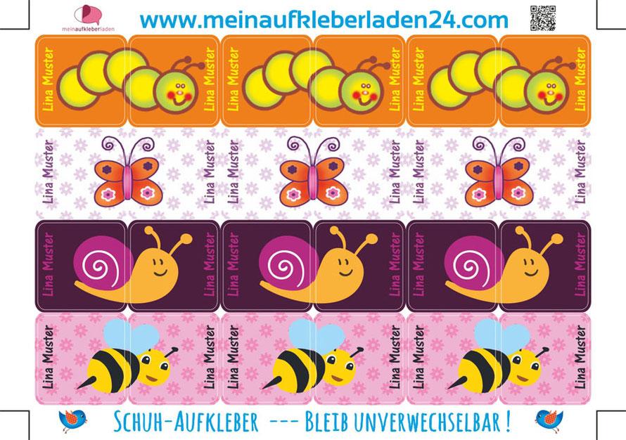 mit Namen personalisierbare Schuhaufkleber mit niedlichen Tierchen, Raupe, Schmetterling, Schnecke und Biene - so geht Schuheanziehen kinderleicht