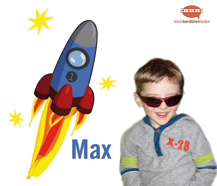 Wandaufkleber Rakete mit Sternen, mit Name personalisierbar, auch als Türaufkleber