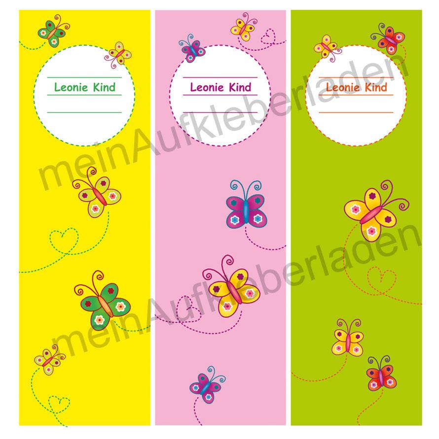 niedliche Ordnerrückenaufkleber für die Schule - Schmetterlinge mit Name personalisierbar