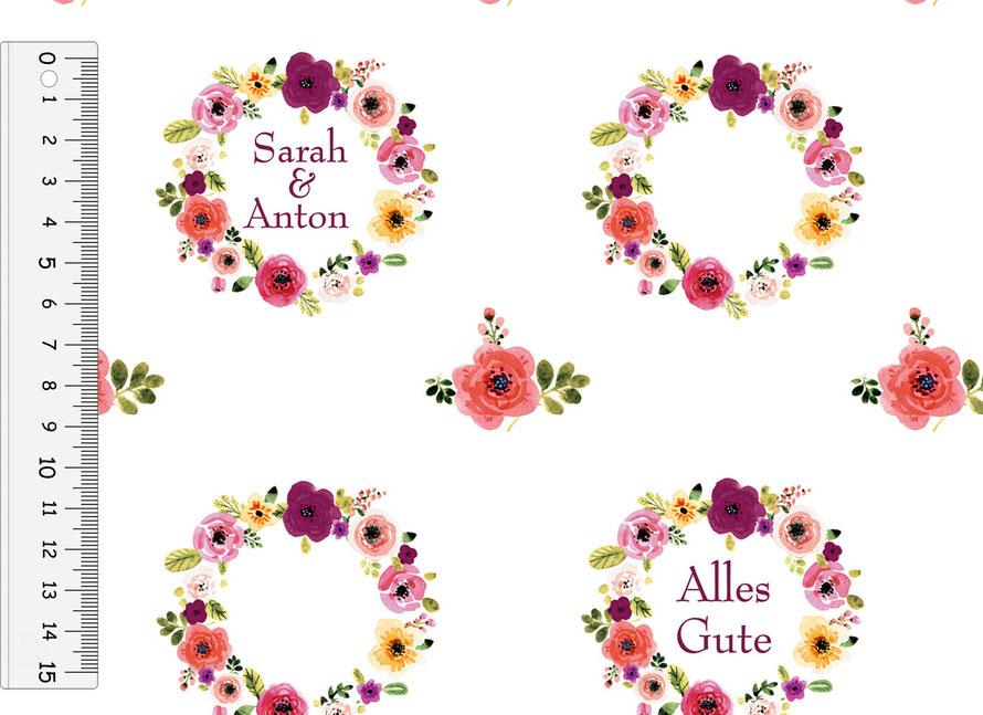 nachhaltiges Geschenkpapier: Blumenkranz - Alles Gute - personalisierbar,  hergestellt aus recycelten Papieren
