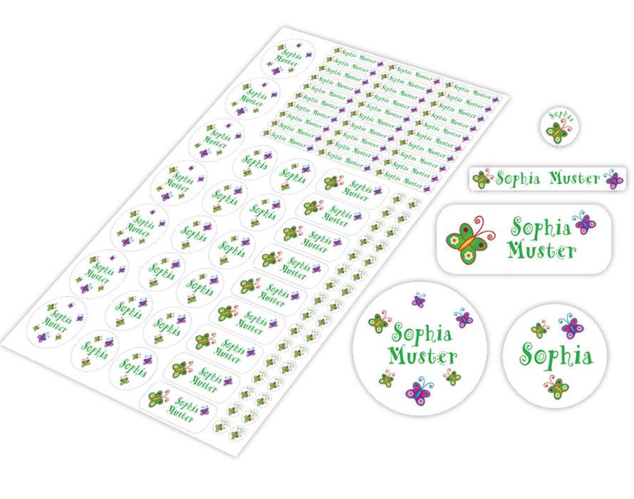 Schulstarter-Set - Motiv: Schmetterlinge - verschiedene Namensaufkleber, Stifteaufkleber, Mini Dots Aufkleber, hochwertige, umweltfreundliche PVC-freie Folie