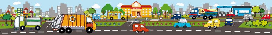 Kinderwandbordüre mit vielen Fahrzeugen - liebevoll handgemaltes Motiv