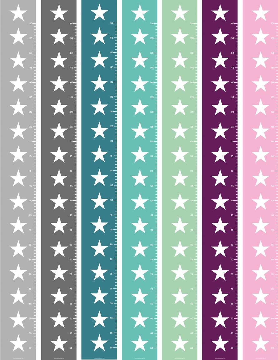 selbstklebende schmale Messlatten für den Türrahmen - in vielen Farben mit Sterne