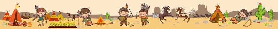 fröhliche Kinderbordüre mit Indianer Kinder, Pferde, Indianerzelte, umweltfreundlich und optional selbstklebend