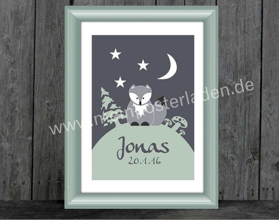 Namensprint mit niedlichem Fuchs und Sternchen im Wald - personalisierbar mit Name und Geburtsdatum des Kindes, tolle Geschenkidee