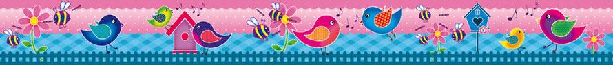 umweltfreundliche Kindervliesbordüre mit niedlichen Vögelchen - Restposten - Sale