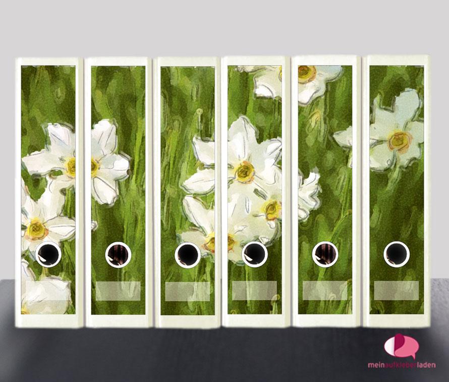 liebevoll gestaltete  Ordnerrückenaufkleber für die Schule, Büro, Arbeit oder zu Hause - weiße Narzissen im Aquarell-Stil