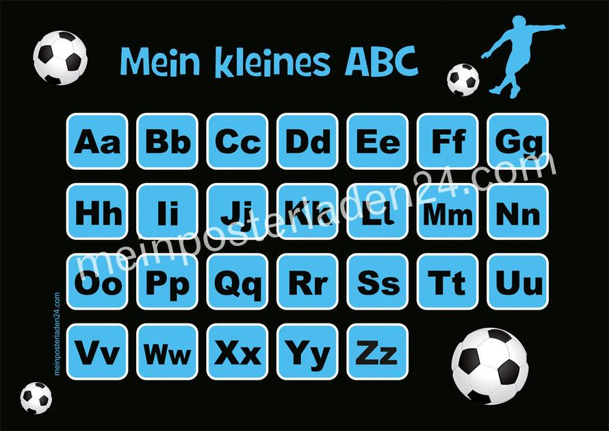 ABC Lernposter für die Grundschule Fußballspieler, optional laminiert