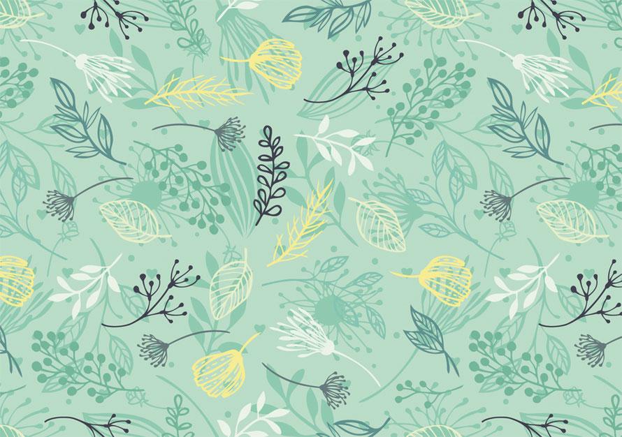 nachhaltige ECO Vlies Bordüre mit zarten Blättern und Blütenstängeln - in Grüntönen