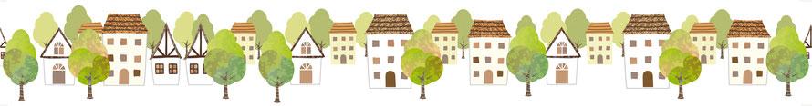 Vliesbordüre mit idyllischen Fachwerkhäusern, Bäumen, umweltfreundlich und nachhaltig