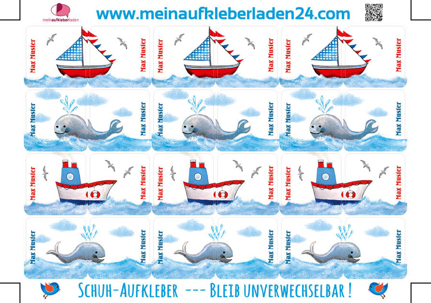 mit Namen personalisierbare maritime Schuhaufkleber mit Segelschiff, Walen und Dampfer - so geht Schuheanziehen kinderleicht