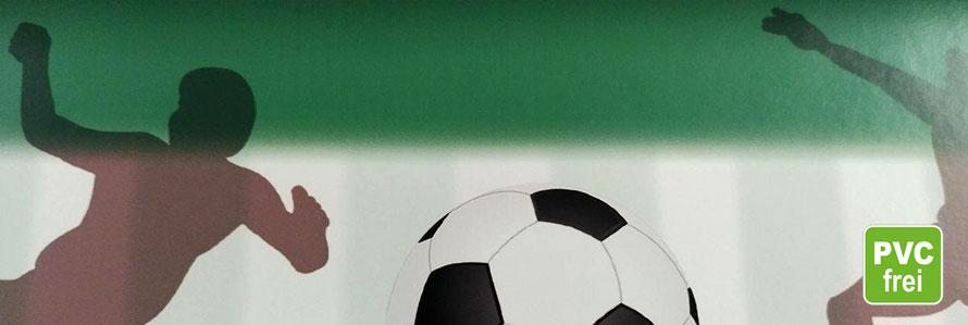 Vliesbordüre Fußball gedruckt auf Erfurt Wallpaper, PVC frei, umweltfreundlich